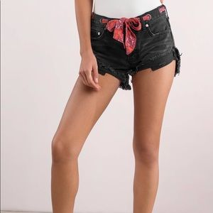Free People Sashed and Relaxed Black Denim Shorts